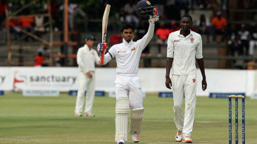 Dhananjaya de Silva celebrates his hundred