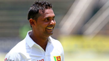 Asela Gunaratne is all smiles after bringing up his maiden Test century