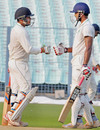 KB Arun Karthik and Swarupam Purkayastha greet each other after putting up the only fifty partnership of the match, Assam v Saurashtra, Ranji Trophy 2016-17, Group B, Kolkata, 3rd day, November 7, 2016