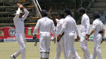 Rangana Herath celebrates the wicket of Brian Chari