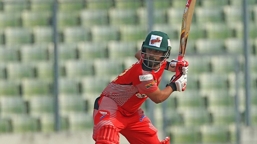 Tamim Iqbal winds up for a big shot