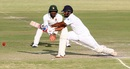 Dimuth Karunaratne sets himself up for a reverse sweep, Zimbabwe v Sri Lanka, 2nd Test, Harare, 3rd day, November 8, 2016