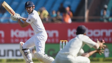 Alastair Cook was dropped by Ajinkya Rahane at gully in the third ball of the morning