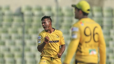 Abul Hasan exults after taking a wicket