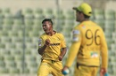 Abul Hasan exults after taking a wicket, Khulna Titans v Rajshahi Kings, BPL 2016-17, Mirpur, November 9, 2016