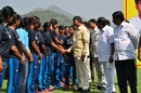Andhra Pradesh chief minister Chandrababu Naidu greets the India Women's team at the inauguration of the Gokaraju Liala Gangaaraju ACA Cricket Ground, Mulapadu, November 9, 2016
