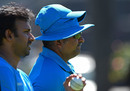 Bowling coach Bharat Arun (right) looks on during a training session ahead of the match, UAE v India, Perth, February 27, 2015