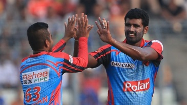 Thisara Perera celebrates after taking a wicket