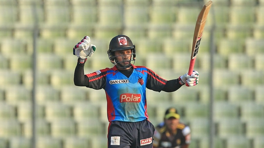 Mushfiqur Rahim celebrates after completing 50 runs