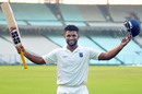 Naushad Shaikh celebrates after his century, Maharashtra v Vidarbha, Ranji Trophy 2016-17, Group B, Kolkata, 1st day, November 13, 2016