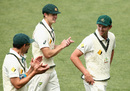 Mitchell Starc and Joe Mennie applaud Josh Hazlewood off the field, Australia v South Africa, 2nd Test, Hobart, 3rd day, November 14, 2016