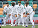 Dean Elgar, Hashim Amla, Faf du Plessis and JP Duminy man South Africa's slip cordon, Australia v South Africa, 2nd Test, Hobart, 3rd day, November 14, 2016