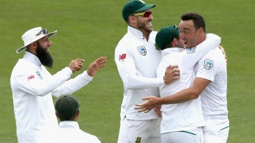 Kyle Abbott celebrates a wicket