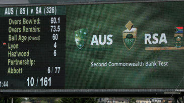 The giant screen at the Bellerive Oval displays the result