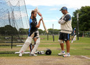 Kane Williamson demonstrates a shot to batting coach Craig McMillan, Christchurch, November 16, 2016