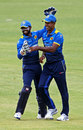 Niroshan Dickwella congratulates Nuwan Kulasekara on running out Kraigg Brathwaite, Sri Lanka v West Indies, Zimbabwe tri-series, Harare, November 16, 2016