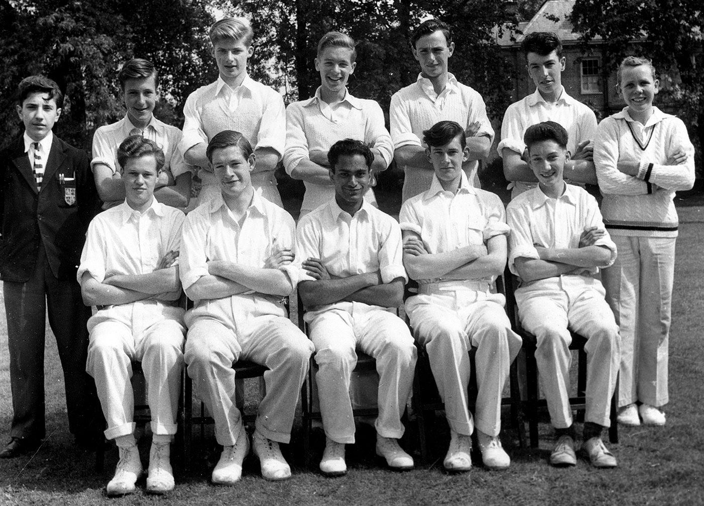 Zulfikar Ghose (sitting, third from left) was the only South Asian in his school team