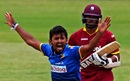 Suranga Lakmal appeals for a wicket, Sri Lanka v West Indies, Zimbabwe tri-series, Harare, November 16, 2016