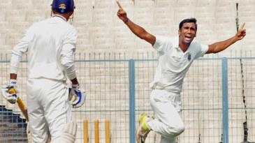 Anupam Sanklecha celebrates a wicket