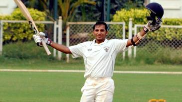 Shamsher Yadav celebrates his hundred
