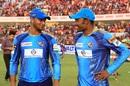 Man of the Match Mohammad Shahid and Shakib Al Hasan share a moment after their win, Dhaka Dynamites v Chittagong Vikings, BPL 2016-17, Chittagong, November 17, 2016