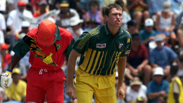 Glenn McGrath is frustrated after an lbw decision is turned down