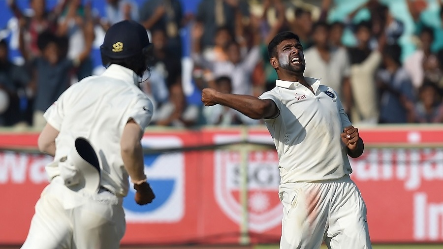 R Ashwin is stoked after taking a wicket