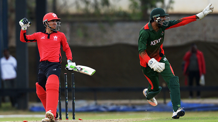 Shahid Wasif was stumped for 44 by Kenya wicketkeeper Irfan Karim