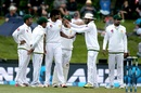 Rahat Ali celebrates with team-mates after taking a wicket, New Zealand v Pakistan, 1st Test, Christchurch, 3rd day, November 19, 2016