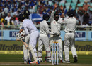 Ravindra Jadeja celebrates as Zafar Ansari thinks reviewing his lbw, India v England, 2nd Test, Visakhapatnam, 3rd day, November 19, 2016