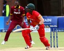 Chamu Chibhabha watches a leading edge land safely, Zimbabwe v West Indies, tri-nation series, Bulawayo, November 19, 2016