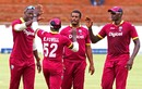 The West Indies players celebrate a wicket, Zimbabwe v West Indies, tri-nation series, Bulawayo, November 19, 2016