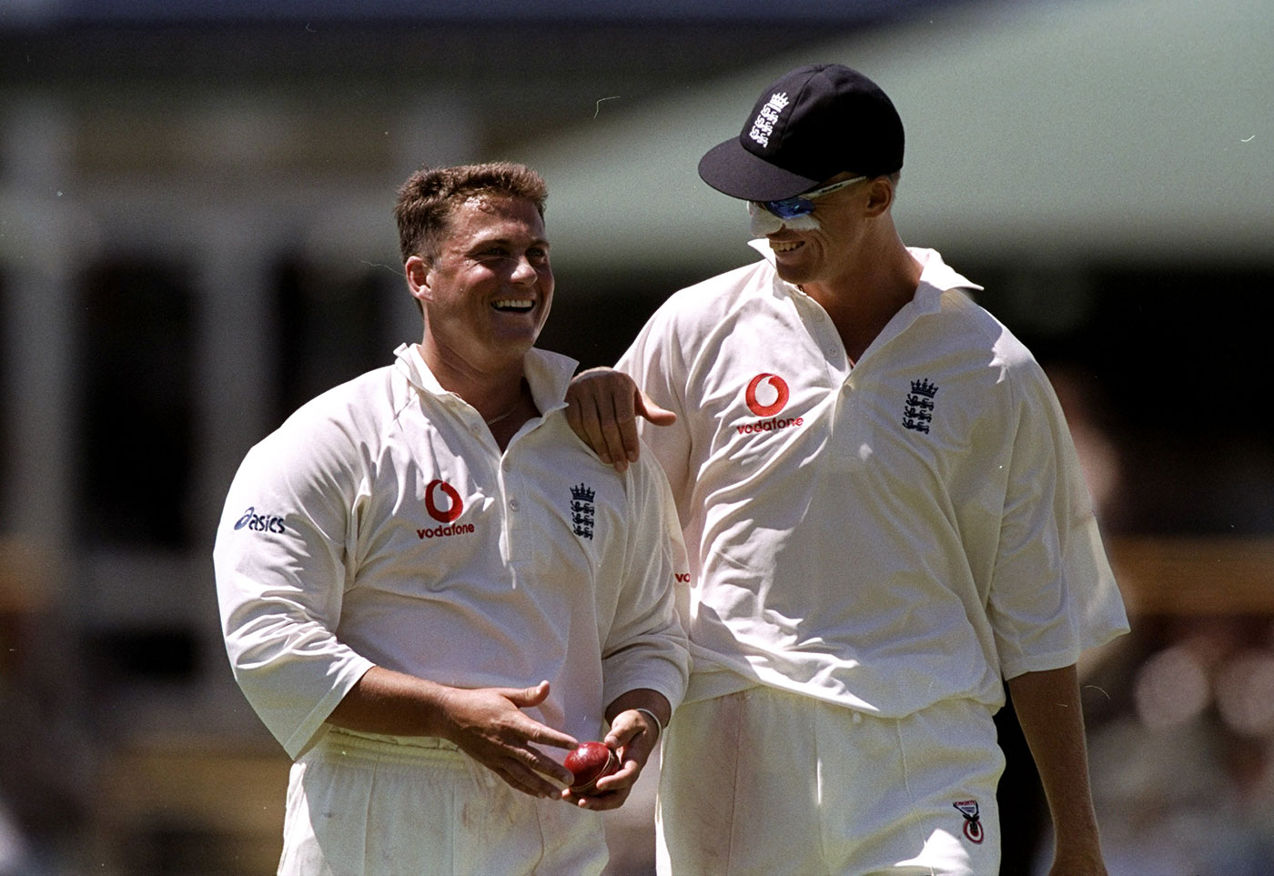 With his old mucker Darren Gough in the Perth Test of 1998