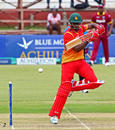 Donald Tiripano taps a ball on to the off side, Zimbabwe v West Indies, tri-nation series, Bulawayo, November 19, 2016