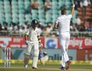 Stuart Broad celebrates the wicket of Ajinkya Rahane, India v England, 2nd Test, Visakhapatnam, 4th day, November 20, 2016