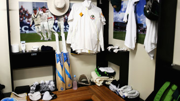 A view of the Australian dressing room before play