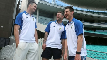 Peter Handscomb, Matthew Wade and Nic Maddinson after being called into Australia's Test squad