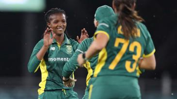 Ayabonga Khaka celebrates with her team mates