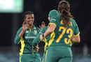 Ayabonga Khaka celebrates with her team mates, Australia v South Africa, 1st women's ODI, Canberra, November 18, 2016