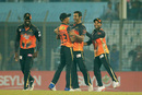 Mosharraf Hossain and Shafiul Islam are thrilled while celebrating a wicket, Khulna Titans v Barisal Bulls, BPL 2016-17, Chittagong, November 20, 2016