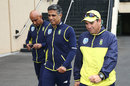 Russell Domingo (right) flanked by the South Africa team manager and security official, Adelaide, November 22, 2016
