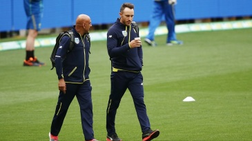 Faf du Plessis leaves after his Code of Conduct hearing at Adelaide Oval