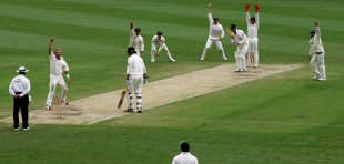 Shane Warne successfully appeals for Chris Martin's wicket
