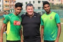 Newly appointed physio Dean Conway poses with pacers Mustafizur Rahman and Ebadat Hossain, Dhaka, November 23, 2016