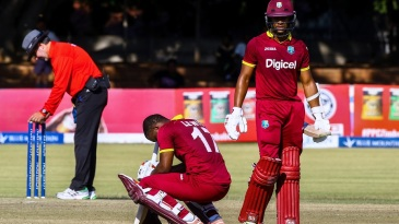 Evin Lewis battled cramps on his way to a maiden ODI ton
