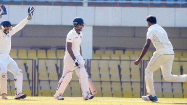 Paidikalva Vijaykumar celebrates after dismissing Sanju Samson