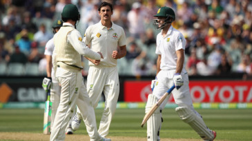 Mitchell Starc sends Stephen Cook back