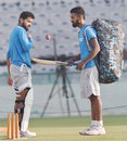 India openers M Vijay and KL Rahul have a chat while training, Mohali, November 24, 2016