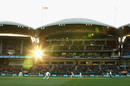 The sun sneaks in through the stands during the final phase of play, Australia v South Africa, 3rd Test, Adelaide, 2nd day, November 25, 2016