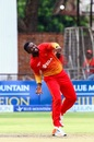 Tendai Chisoro is a picture of exertion as he delivers the ball, Zimbabwe v West Indies, tri-series, Bulawayo, November 25, 2016